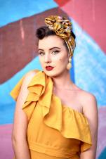 Miss MonMon wearing Lavender and Peach turban in Gold. Photo by CELPhotography.