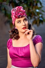 Miss MonMon wearing Lavender and Peach turban in Ruby. Photo by CELPhotography.